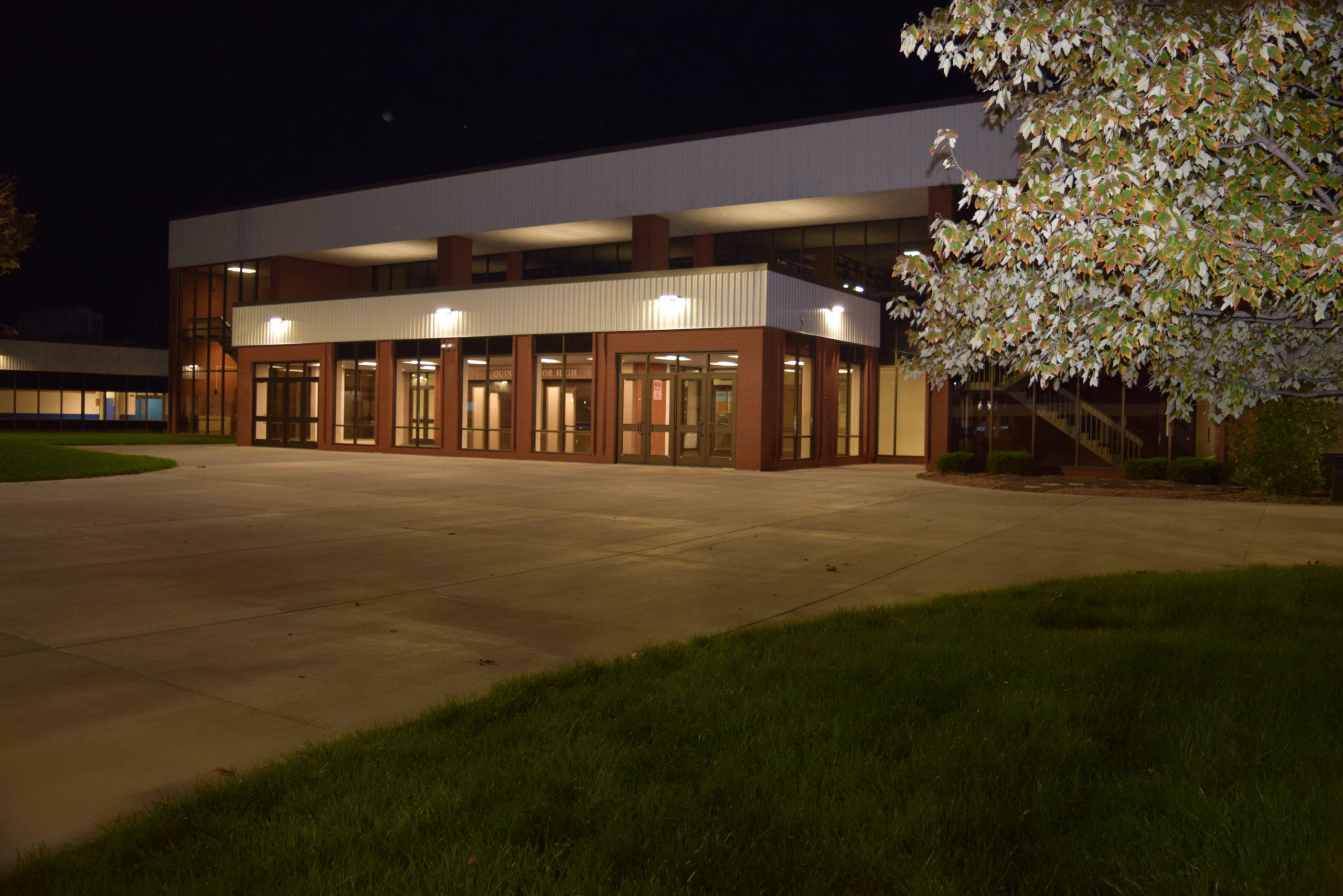 Quincy Senior High at night