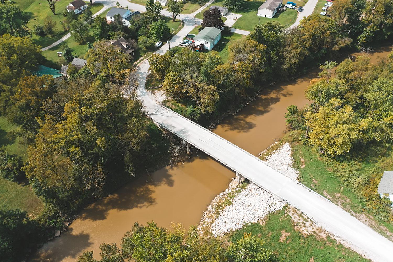 Overhead photo of Monroe County Bridge